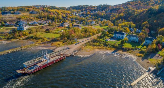 Aerial of the Summerville Ferry on Kennebecasis Drive